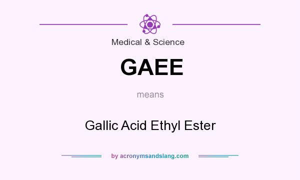 What does GAEE mean? It stands for Gallic Acid Ethyl Ester