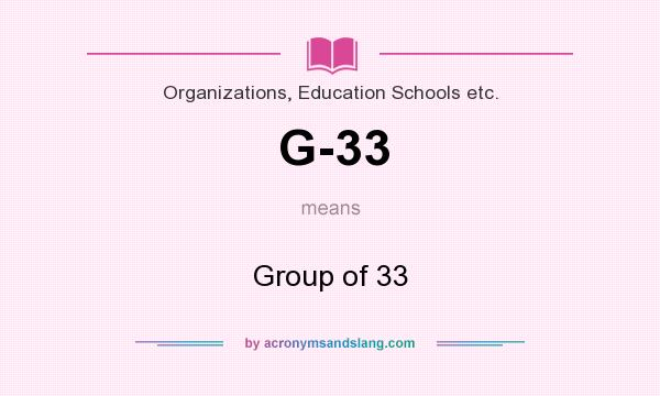 What does G-33 mean? It stands for Group of 33