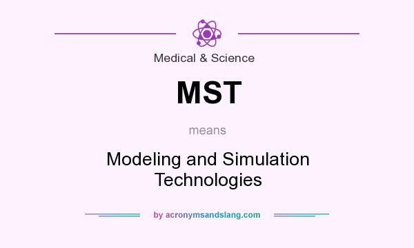 What does MST mean? It stands for Modeling and Simulation Technologies