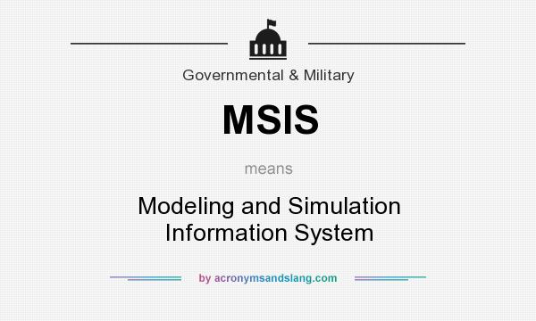 What does MSIS mean? It stands for Modeling and Simulation Information System
