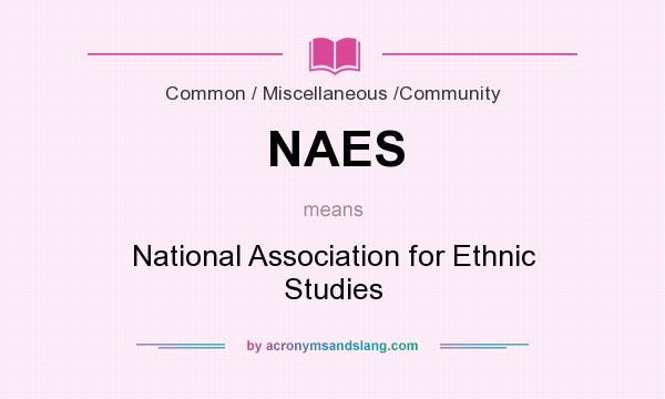 What does NAES mean? It stands for National Association for Ethnic Studies