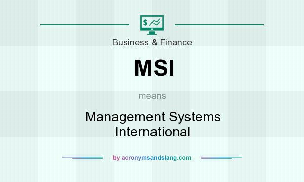 What does MSI mean? It stands for Management Systems International