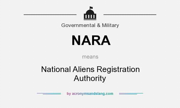 What does NARA mean? It stands for National Aliens Registration Authority