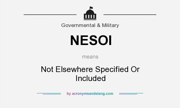 What does NESOI mean? It stands for Not Elsewhere Specified Or Included
