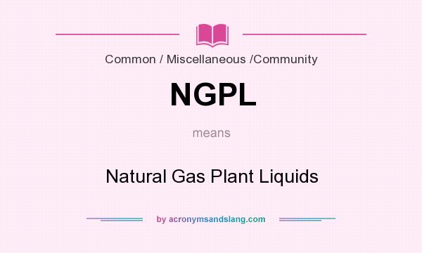 What does NGPL mean? It stands for Natural Gas Plant Liquids