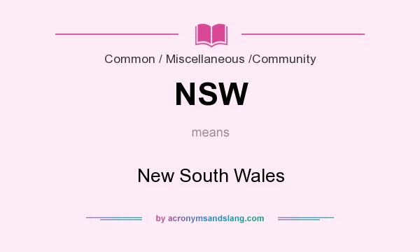 What does NSW mean? It stands for New South Wales