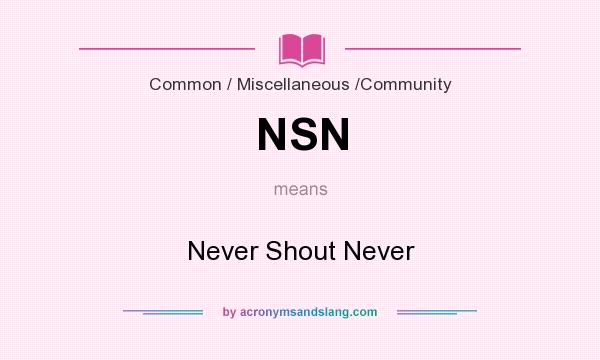 What does NSN mean? It stands for Never Shout Never