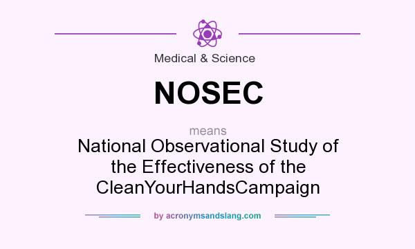 What does NOSEC mean? It stands for National Observational Study of the Effectiveness of the CleanYourHandsCampaign