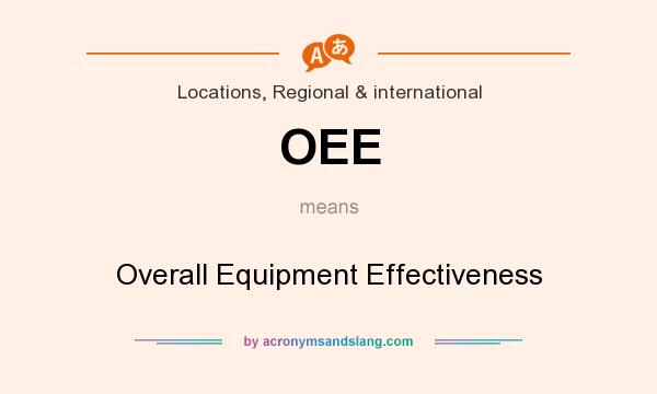 What does OEE mean? It stands for Overall Equipment Effectiveness