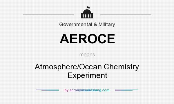 What does AEROCE mean? It stands for Atmosphere/Ocean Chemistry Experiment