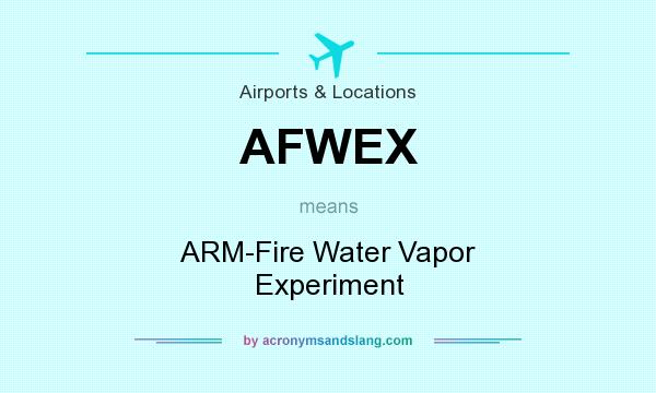 What does AFWEX mean? It stands for ARM-Fire Water Vapor Experiment