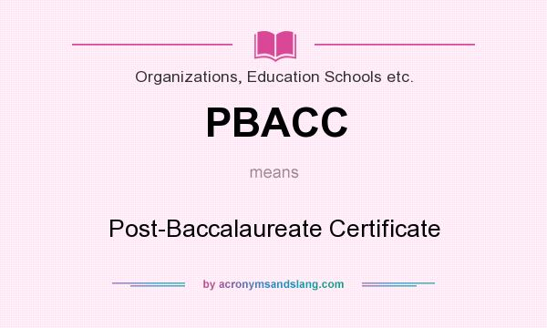 PBACC - Post-Baccalaureate Certificate in Organizations, Education ...