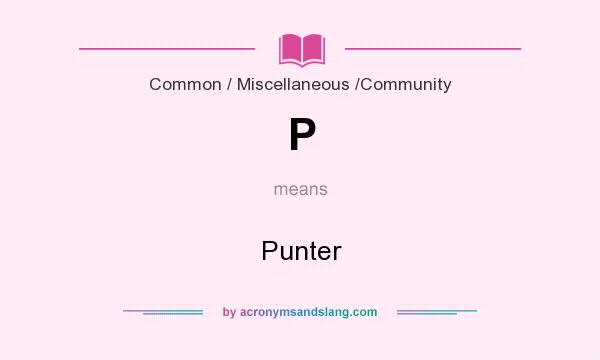 What does P mean? It stands for Punter