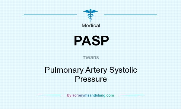 What does PASP mean? It stands for Pulmonary Artery Systolic Pressure