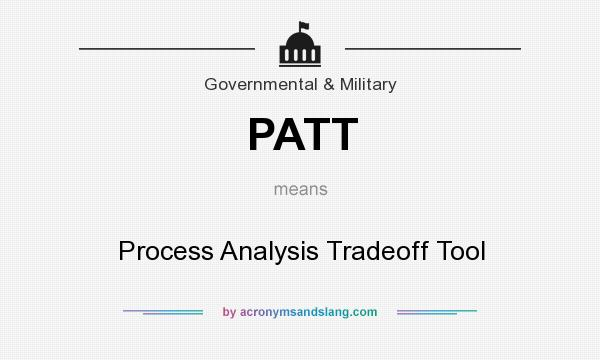 What does PATT mean? It stands for Process Analysis Tradeoff Tool