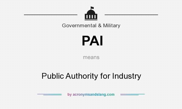 What does PAI mean? It stands for Public Authority for Industry