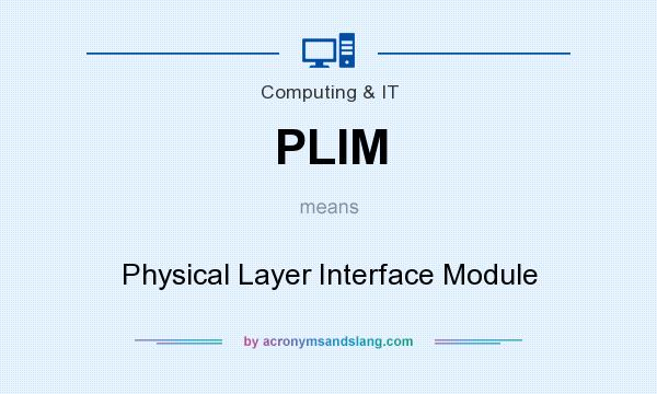 What does PLIM mean? It stands for Physical Layer Interface Module