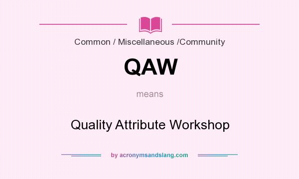 What does QAW mean? It stands for Quality Attribute Workshop