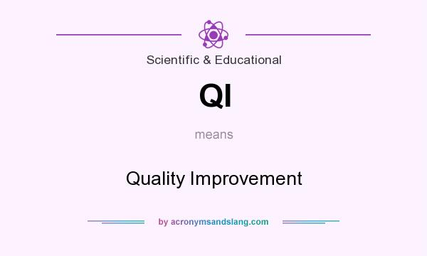 What does QI mean? It stands for Quality Improvement