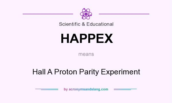 What does HAPPEX mean? It stands for Hall A Proton Parity Experiment