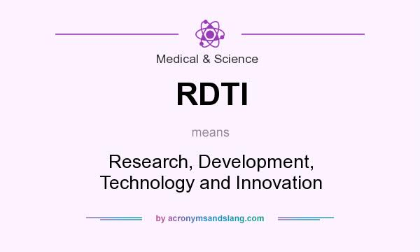 What does RDTI mean? It stands for Research, Development, Technology and Innovation