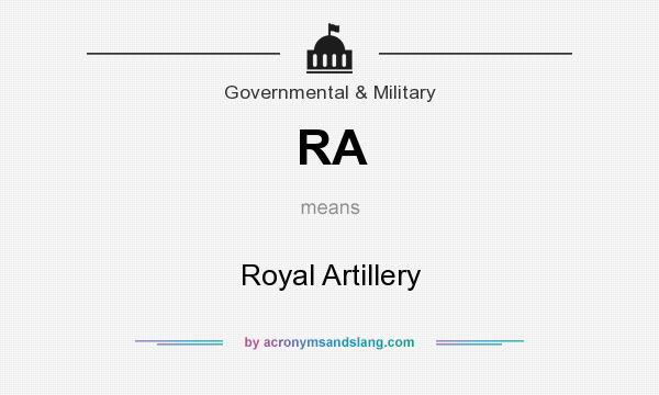 What does RA mean? It stands for Royal Artillery