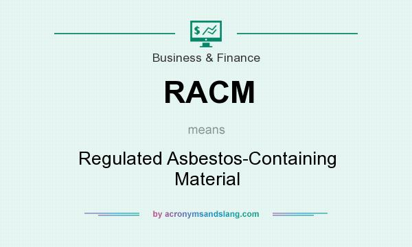 What does RACM mean? It stands for Regulated Asbestos-Containing Material
