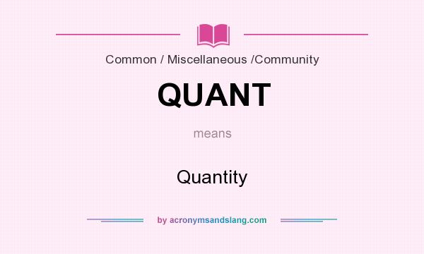 What does QUANT mean? It stands for Quantity