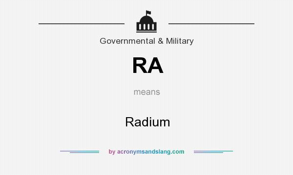 What does RA mean? It stands for Radium