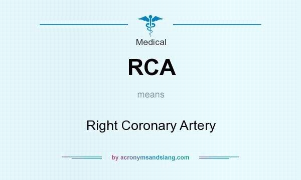 What does RCA mean? It stands for Right Coronary Artery