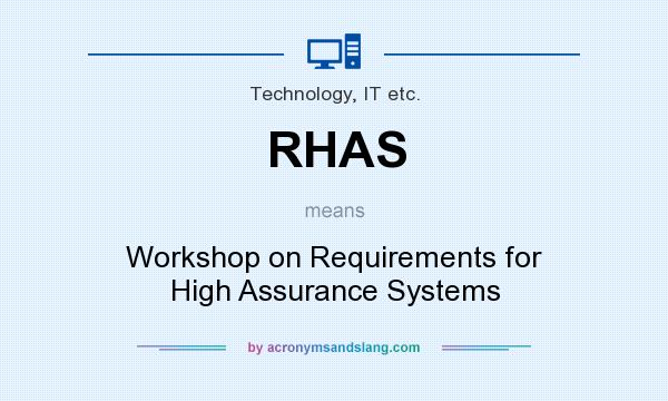 What does RHAS mean? It stands for Workshop on Requirements for High Assurance Systems