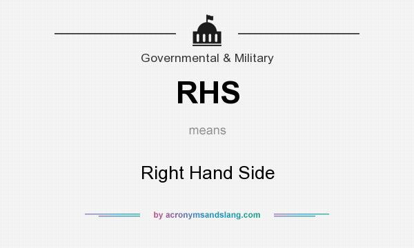 What does RHS mean? It stands for Right Hand Side