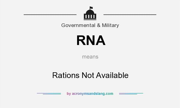 What does RNA mean? It stands for Rations Not Available