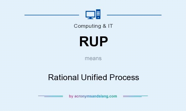What does RUP mean? It stands for Rational Unified Process
