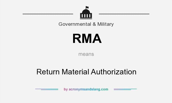 What does RMA mean? It stands for Return Material Authorization