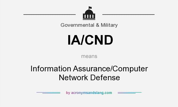 What does IA/CND mean? It stands for Information Assurance/Computer Network Defense