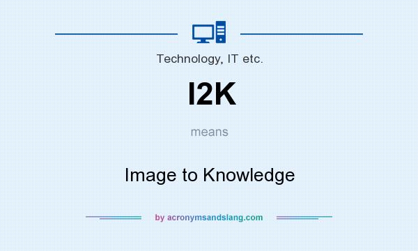 What does I2K mean? It stands for Image to Knowledge