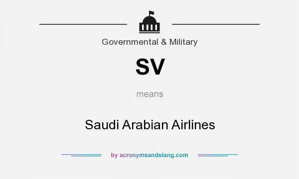 What does SV mean? It stands for Saudi Arabian Airlines