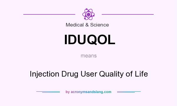 What does IDUQOL mean? It stands for Injection Drug User Quality of Life