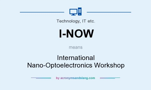 What does I-NOW mean? It stands for International Nano-Optoelectronics Workshop