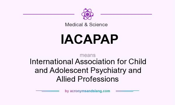 What does IACAPAP mean? It stands for International Association for Child and Adolescent Psychiatry and Allied Professions
