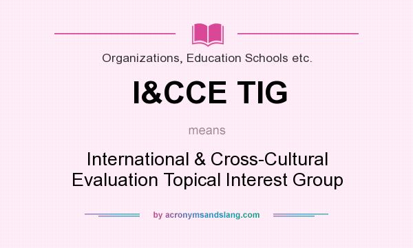 What does I&CCE TIG mean? It stands for International & Cross-Cultural Evaluation Topical Interest Group