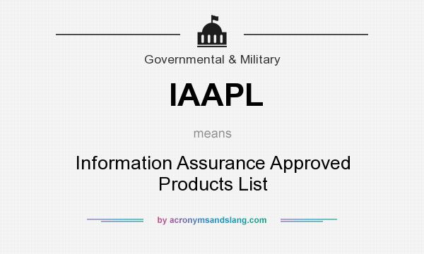 What does IAAPL mean? It stands for Information Assurance Approved Products List
