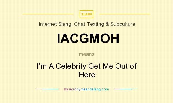 What does IACGMOH mean? It stands for I`m A Celebrity Get Me Out of Here