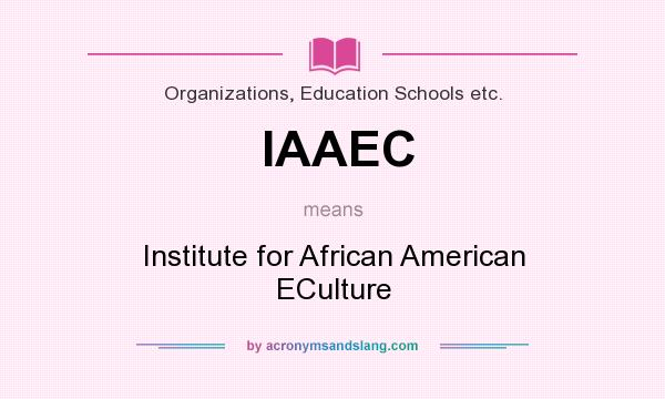 What does IAAEC mean? It stands for Institute for African American ECulture