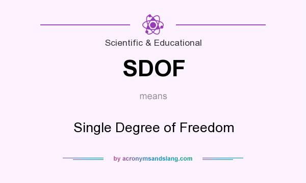 What does SDOF mean? It stands for Single Degree of Freedom