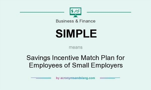 What does SIMPLE mean? It stands for Savings Incentive Match Plan for Employees of Small Employers