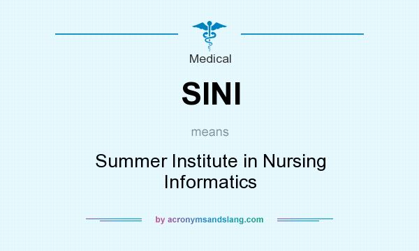 What does SINI mean? It stands for Summer Institute in Nursing Informatics