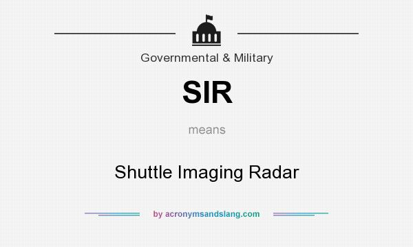 What does SIR mean? It stands for Shuttle Imaging Radar