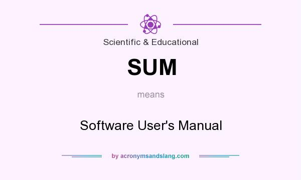 What does SUM mean? It stands for Software User`s Manual